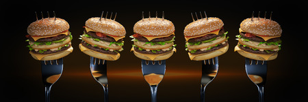 A small hamburger stuck in the fork. The concept of adequate nutrition. 3d render
