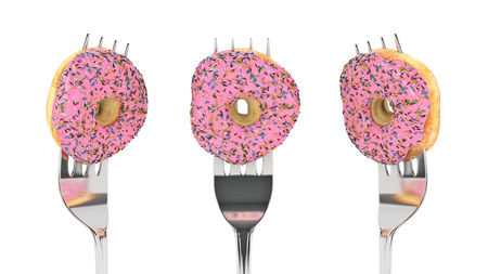 The Modern Diet - donut with fork. 3d render Archivio Fotografico