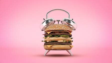 hamburger alarm clock. 3d render