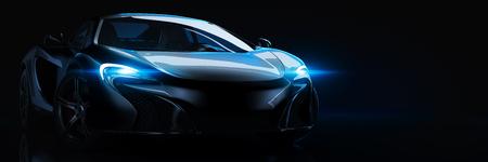 Auto sportiva, configurazione da studio, su uno sfondo scuro. rendering 3d