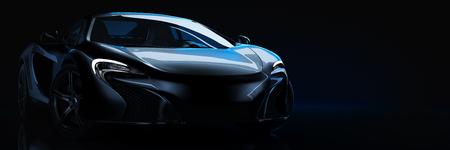 Sportwagen, studio-opstelling, op een donkere achtergrond. 3D render