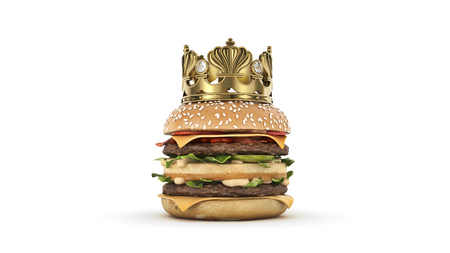Burger with Crown isolated. 3d render