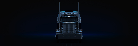 Black heavy truck. 3d render Imagens