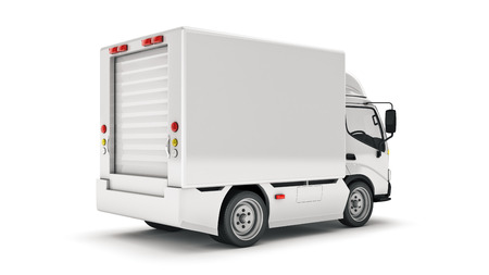 white delivery truck. 3d render