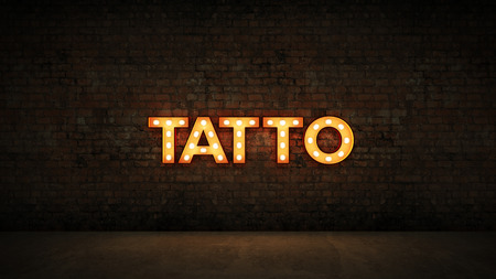 Neon Sign on Brick Wall background - Tattoo. 3d render