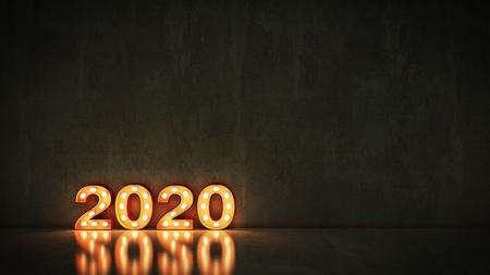 Festzelt Licht 2020 Buchstabenzeichen, Neujahr 2020. 3D-Rendering Standard-Bild