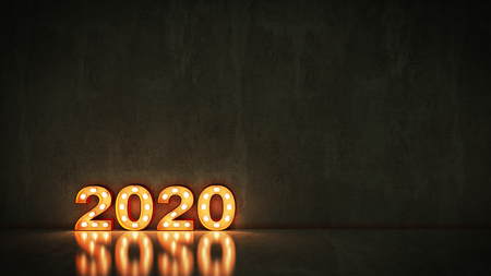 marquee light 2020 letter sign, New Year 2020. 3d rendering Stock Photo