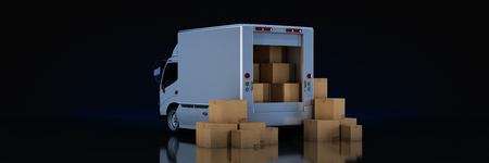 white delivery truck with cardboard boxes. 3d render