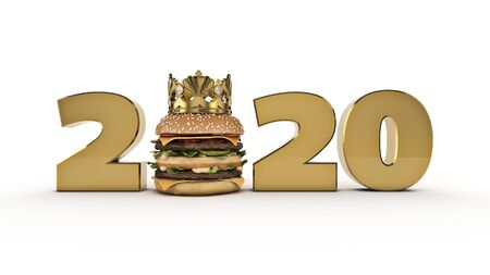 Burger with Crown concept 2020 New Year sign. 3d render
