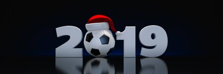 Christmas 2019 concept. soccer ball. 3d render