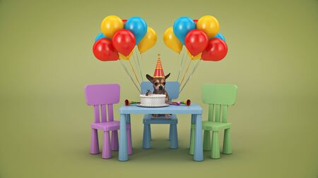 Dog Birthday Party. 3d render Stock Photo
