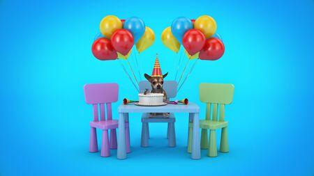 Dog Birthday Party. 3d render Stockfoto