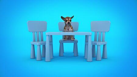 Hund studiert. 3d render