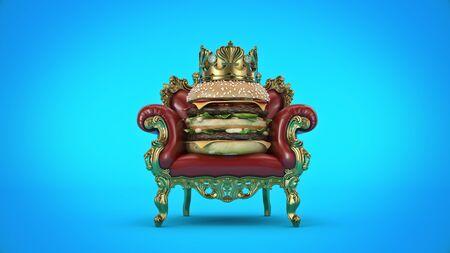 Burger with crown. 3d render