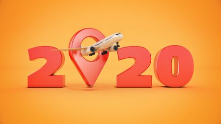Airline travel concept. Airport pointer. 2020 New Year sign. 3d render