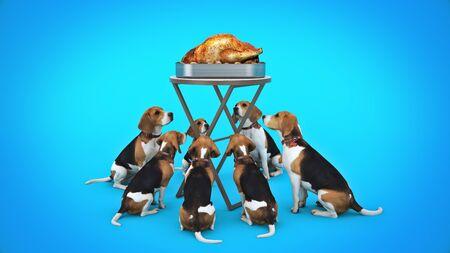 Dog looking at a roasted chicken. 3d render Standard-Bild