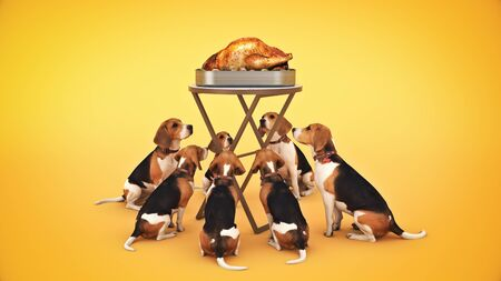 Dog looking at a roasted chicken. 3d render Stock Photo