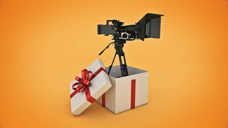 video camera inside a gift box. 3d render Stock Photo