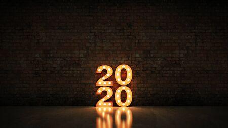 Festzelt Licht 2020 Buchstabenzeichen, Neujahr 2020. 3D-Rendering