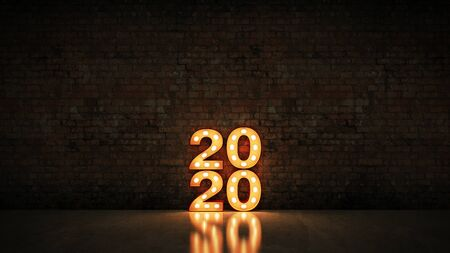 marquee light 2020 letter sign, New Year 2020. 3d rendering Foto de archivo