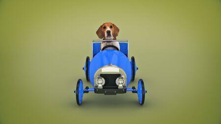 dog driving toy car. 3d render Imagens