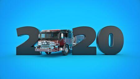 firetruck concept 2020 New Year sign. 3d render