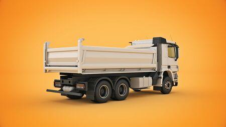 white dump truck. 3d render Stock Photo