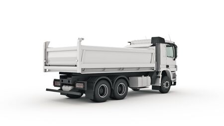 camión volquete blanco. Render 3d Foto de archivo