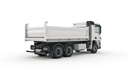 camion ribaltabile bianco. rendering 3d Archivio Fotografico