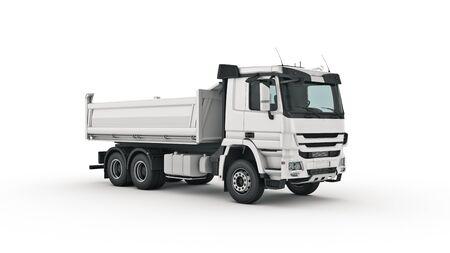 camión volquete blanco. Render 3d