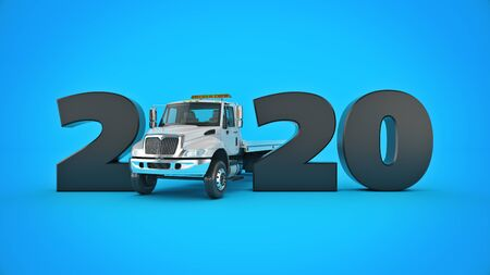 Truck concept 2020 New Year sign. 3d render