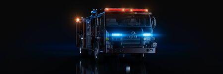 Fire Truck, studio setup, on a dark background. 3d render