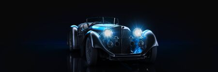Sports classic car, studio setup, on a dark background. 3d render