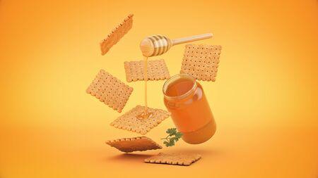 cracker and honey. 3d render