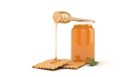cracker and honey. 3d render Foto de archivo