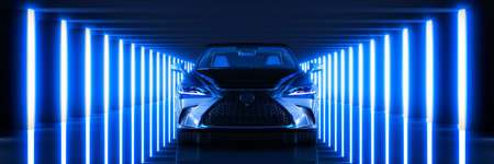 Sports car, studio setup on a dark background. 3d render Stockfoto