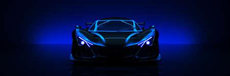 Sports car, studio setup on a dark background. 3d render Foto de archivo