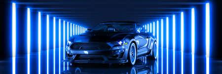 Sports car, studio setup on a dark background. 3d render