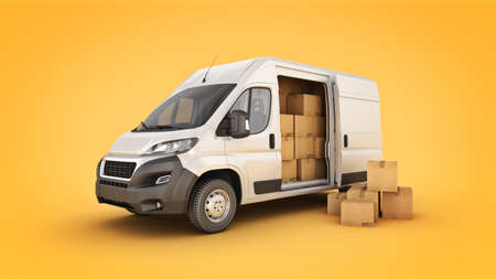 commercial delivery van with cardboard boxes. 3d rendering