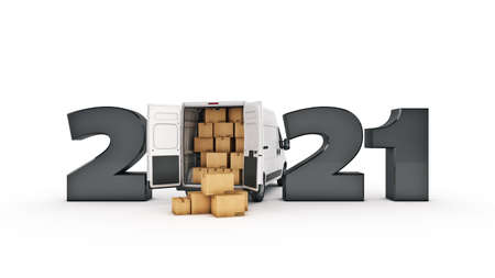 delivery truck concept 2021 New Year sign. 3d rendering