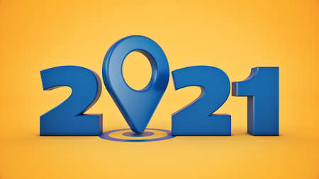 Map pointers concept 2021 New Year sign. 3d rendering