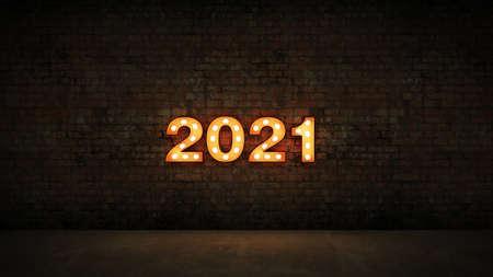 marquee light 2021 letter sign, New Year 2021. 3d render Standard-Bild