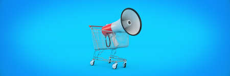 megaphone isolated, shopping offer concept. 3d rendering