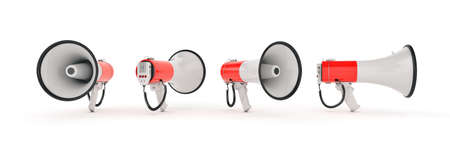 megaphone isolated, attention concept announcement. 3d rendering