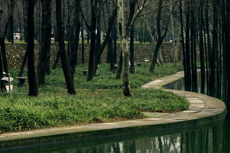 meandering: the meandering bank beside the lake Stock Photo