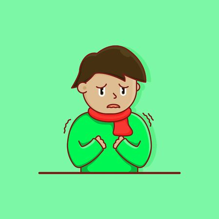 illustration young man cold wearing sweater Ilustrace