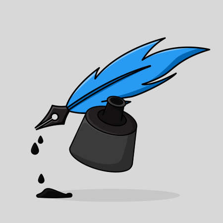 pen feather with ink container  in cute cartoon illustration Illustration