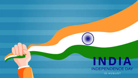 template banner website greeting india independence day with hand grasping flag
