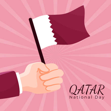 banner square greeting qatar national day - template post social media with cartoon hand holding qatar flag