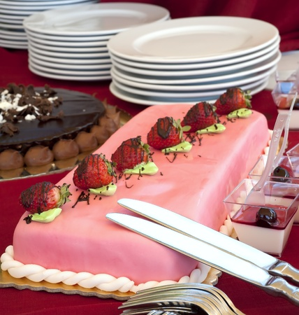 some cake and dessert during a wedding banquet photo
